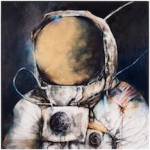 Moonman I 2011 oil, wax, and charcoal on panel 24 x 24 inches