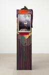 Rachel Harrison, Avatar, 2010. Wood, acrylic, jeans, and pigmented inkjet print. Courtesy of Greene Naftali Gallery.