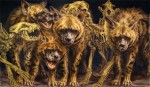 "{Striped Hyena Clan} watercolor and gold, 60"" w x 36"" h, 2005"
