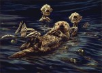 "{Enhydra lutris: Sea Otter Raft} oil on wood, 48"" w x 35"" h, 2002"