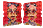 {Lichtekooi 2 (side views)}  Eggcubism, acrylic on eggcarton, 29,5 x 30,5 cm. 2004.  Collection Bouman Foundation, Rotterdam, The Netherlands.