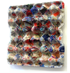 {Collectors item}  Eggcubism, 2006. Acrylic on eggbox, collage with a collection of sugar wraps from all over the world.  Collection Peter Klaus Foundation, Germany.