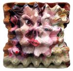 {Kiss I}  Eggcubism, acrylic on eggbox, 2005.  Coll. Peter Klaus Foundation, Germany.