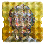 {Cubist}  Eggcubism, acrylic on eggtray, 2007. Collection Peter Klaus Foundation, Germany.