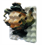 {Cubist teapot}  Eggcubism, 2009. Acrylic on 4 layers of egg carton.  Collection Erasmus Medical Center, Rotterdam.