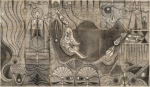 {Acrobats}  52.5 x 90 inches  Graphite on antique ledger book pages