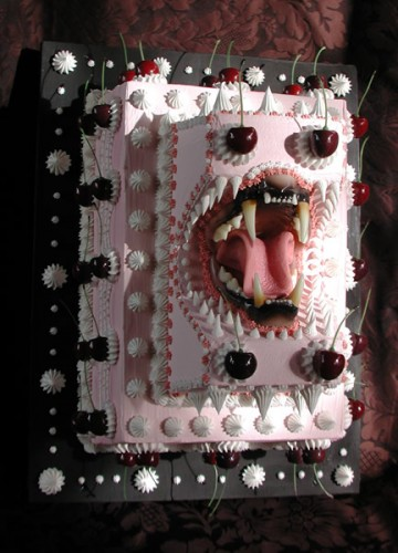"{Bite Cake II Acrylic and Mixed Media on Polyurethane Foam, 15"" x 21"" x 4"", 2010}"