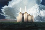{Battersea Power Palace, oil and 23k gold on panel, 32 x 48 in.}