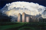 {Battersea Power Palace II, oil on wood panel, 25 x 36 in.}