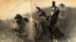 Abe Lincoln riding a bear.