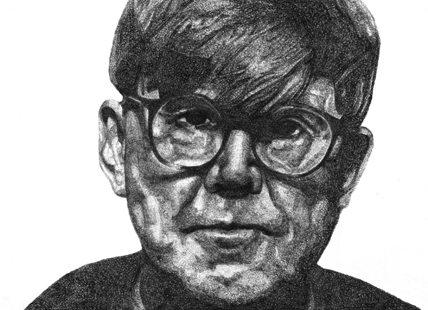 {ALAN BENNETT  Biro on paper, £150. 59 X 42 CM}