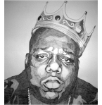 {BIGGIE SMALLS  Biro on paper, £800. 135 X 144 CM}