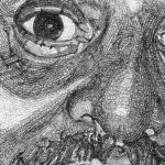 {BRIAN-Detail Biro on paper. Brian sadly died in 2011. 90 X 110 CM}