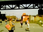 "Passing through the ""recycling"" area under the Kosciuszko Bridge. Mitch warns ""one does not simply go down under the Koszicho bridge"" directing us to walk through quickly and stop taking pictures if anyone bothers us."
