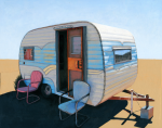 "Desert Camper two - sold finished 8"" x 10"" acrylic painting based on a photo by Fred Quezada"