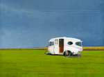"Willerby - sold 12"" x 16"" acrylic on photographic print 2010 based on photo taken by Hilary Walker for the book My Cool Caravan"