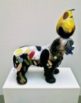 "T.L. Solien, ""FARMDOG WITH PEAR,"" Ceramic, Vinyl, Acrylic, Tin, Paper"
