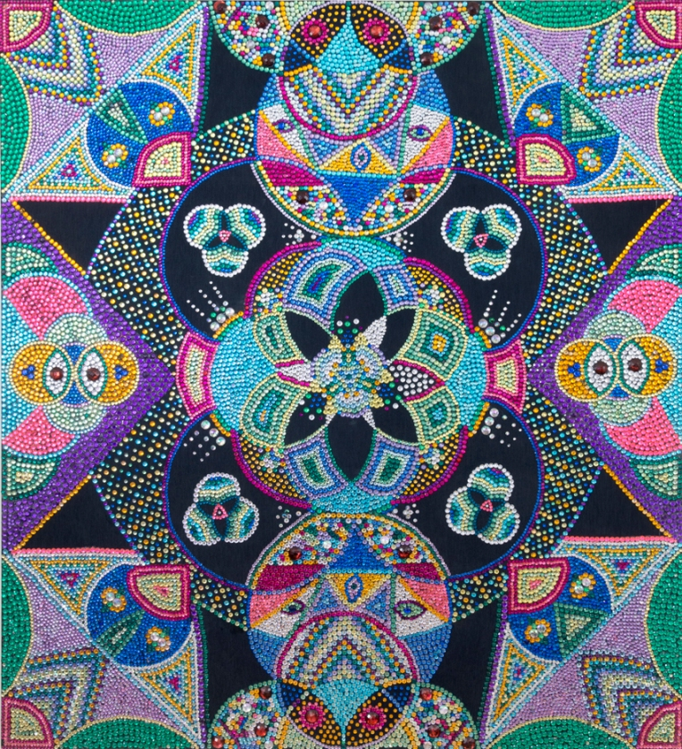 Evie Falci Anahata, 2013  rhinestones on denim